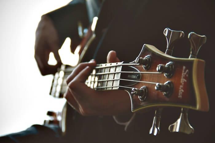 playing guitar having fun