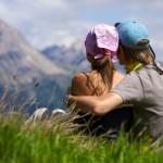 Couple  enjoying a mountains view