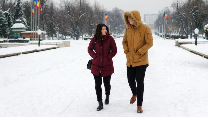 couple walking in winter snow conversation topics