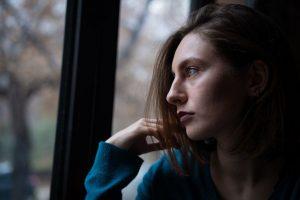 Sad woman, overcoming shame