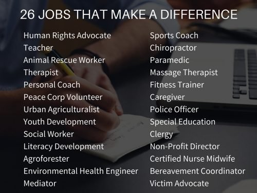 JOBS THAT MAKE A DIFFERENCE