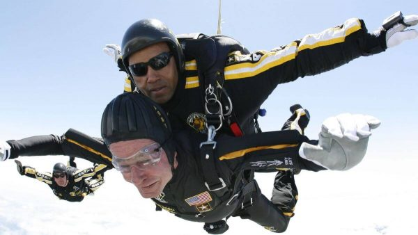 George H.W. Bush skydiving