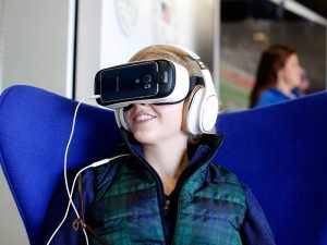 BOSTON, MA - OCTOBER 17: Fans attend Team USA's Virtual Reality Experience Powered by Samsung Gear VR during the 2015 Road to Rio Tour at the Head of the Charles Regatta on October 17, 2015 in Boston, Massachusetts. (Photo by Scott Eisen/Getty Images for Samsung)