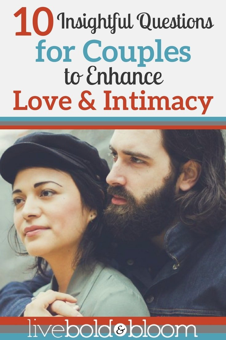 Improve your relationship. Enhance your love and intimacy with these 10 questions for couples.