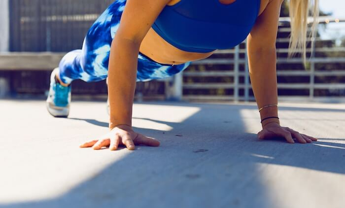 woman push ups self-care ideas