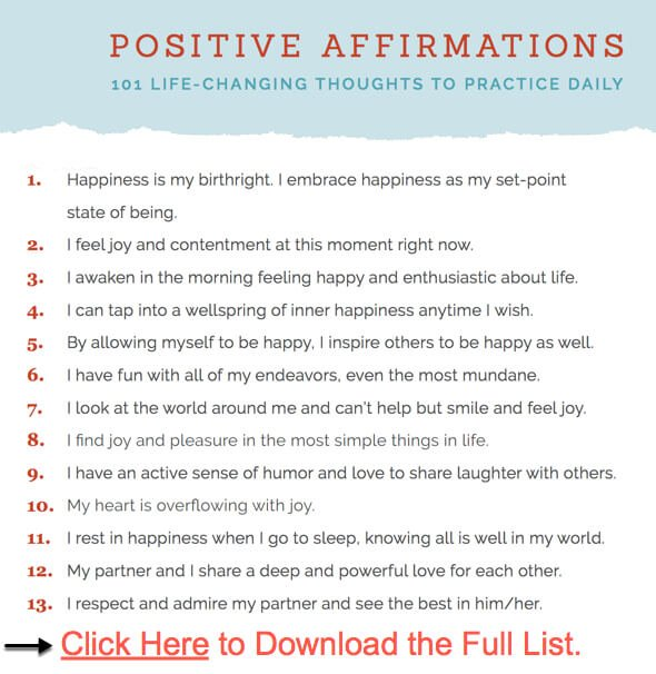 Screenshot infographic Positive Affirmations