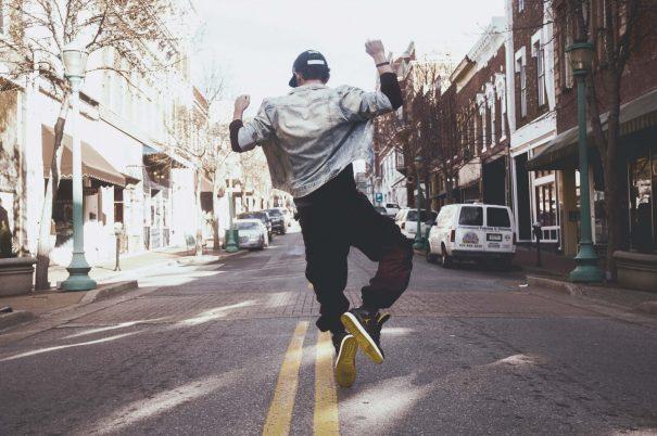 man jumping, true happiness