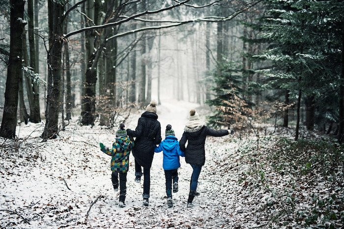 family walking in woods life goals
