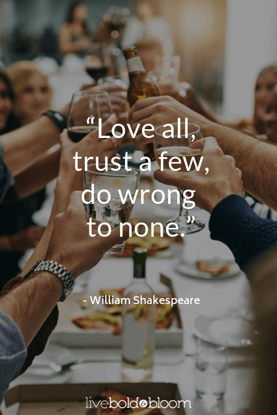 group at dinner toasting short positive quotes