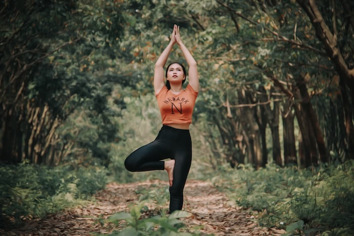 woman practicing yoga living in the moment