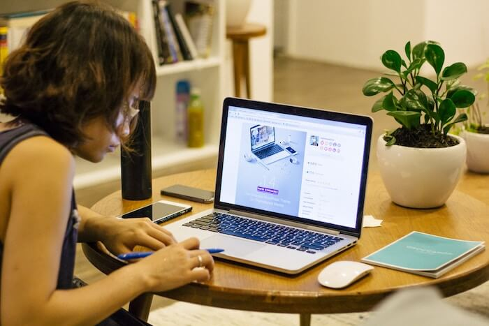 woman taking online class self-improvement