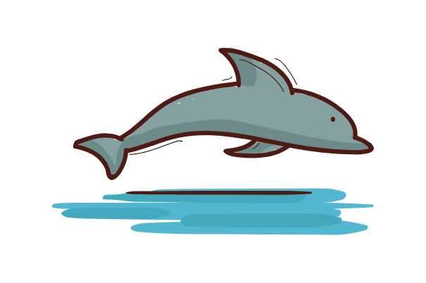 dolphin, easy things to draw