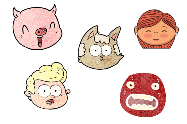 cartoon faces, easy things to draw