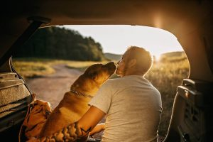 man with dog, values to live by