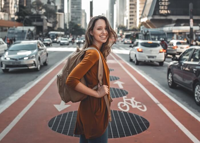 woman standing in busy street Things To Be Grateful For