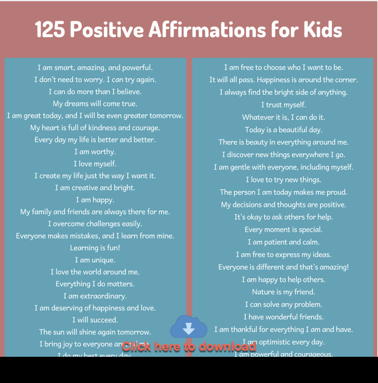 positive affirmations for kids pdf