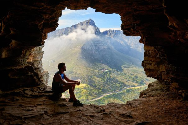 man sitting in cave, inner peace quotes
