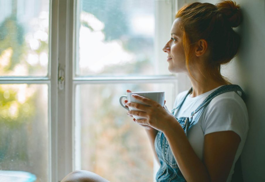 woman thinking, character vs. personality