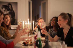 Women toasting, girls night in ideas