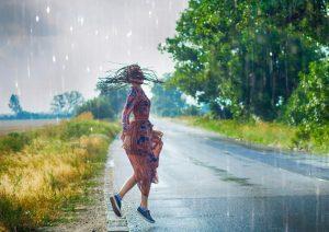 woman in rain, free spirit personality