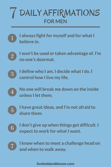 list of daily affirmations for men