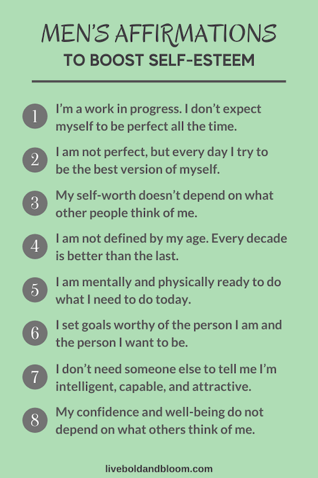 affirmations for men to boost self-esteem