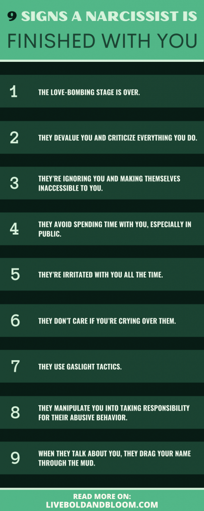 Signs a narcissist is done with you