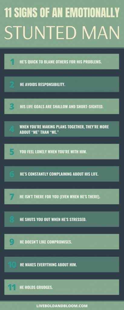 signs of emotionally stunted man