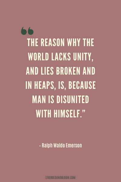 unity quote by Ralph Waldo Emerson