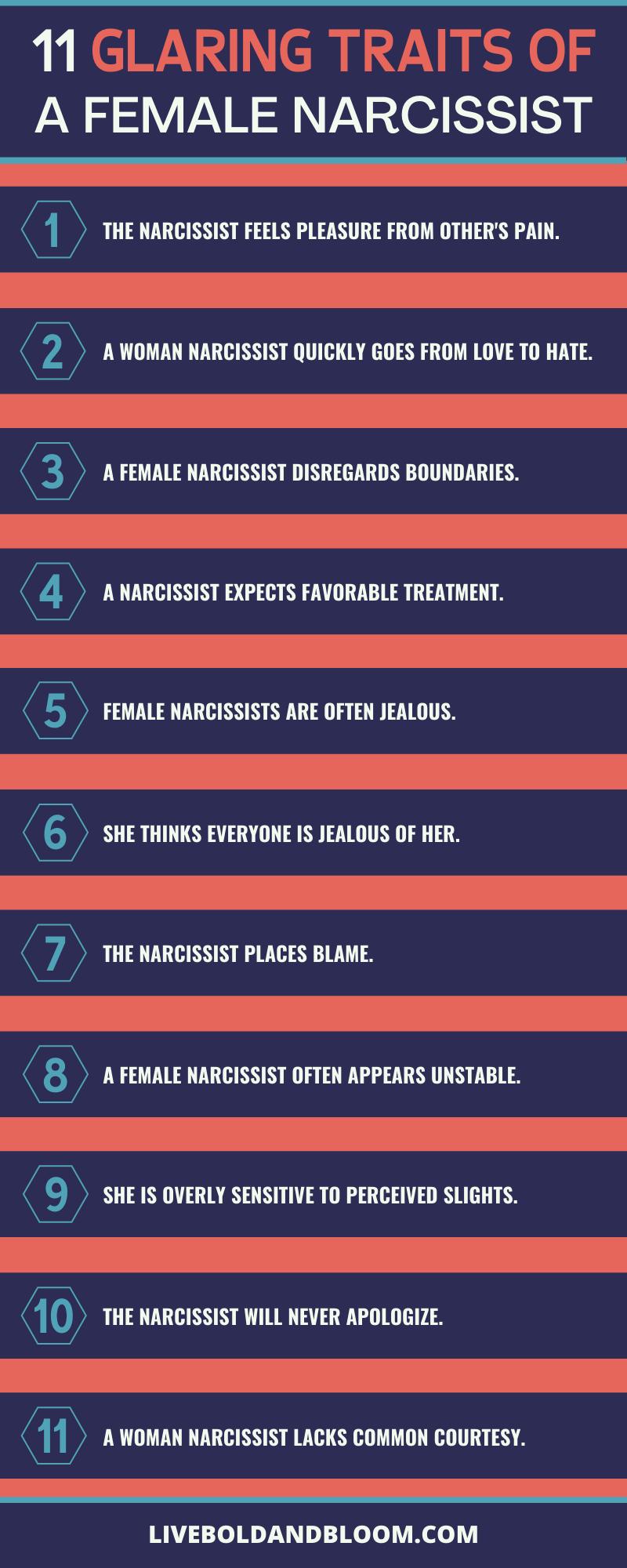 Narcissistic characteristics female What Are