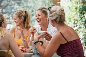 women laughing, starting over at 50