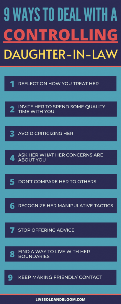 Infographic on ways to deal with a controlling daughter-in-law