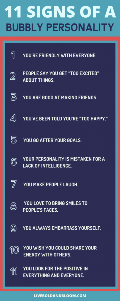 signs of a bubbly personality