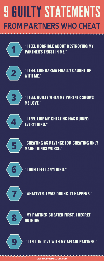 guilty statements from partners who cheat