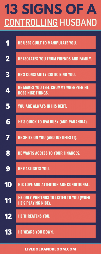 Here is an infographic on signs of a controlling husband. Read the post to know more.