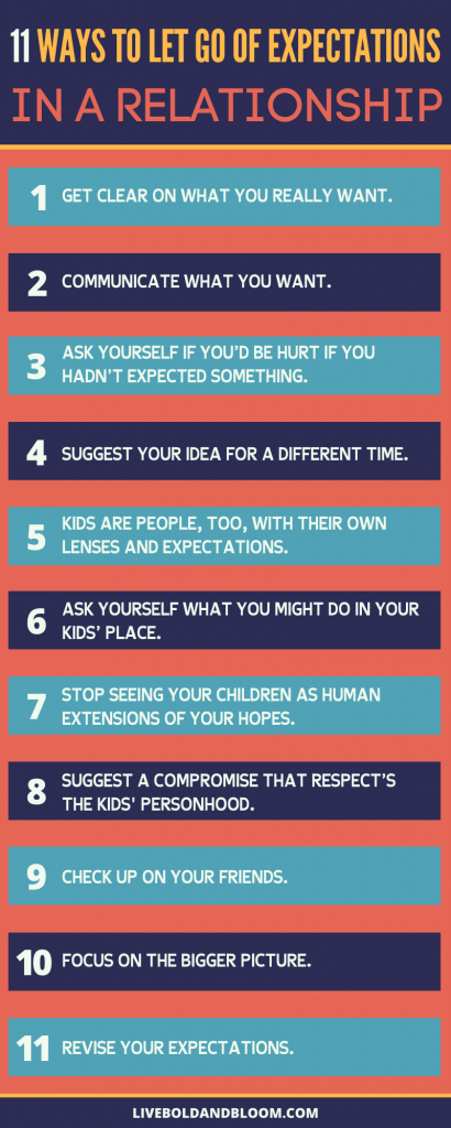 How do you let go of expectations in a relationship? Here is an infographic on how to do that. Read the post too for more information.