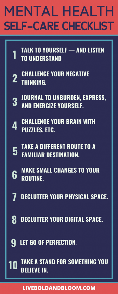 mental health self-care checklist