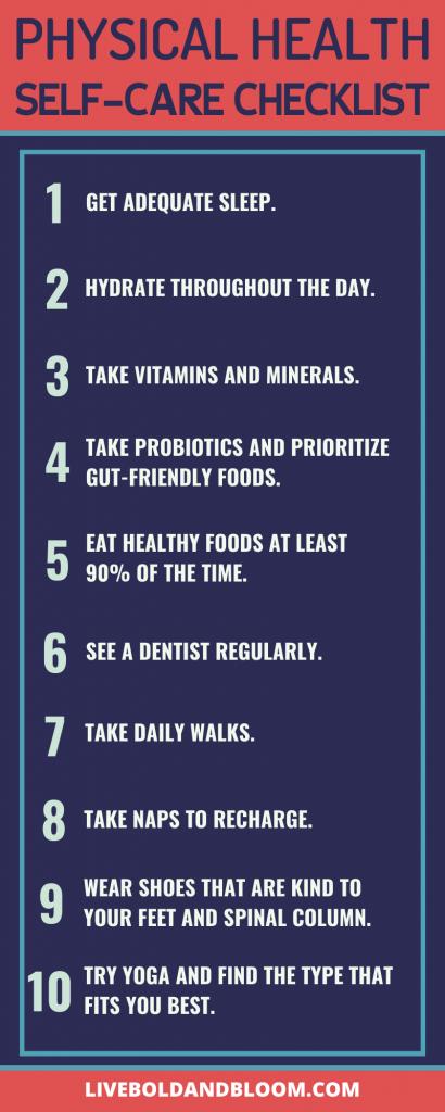 physical health self-care checklist