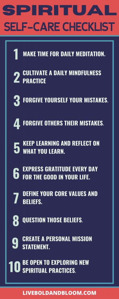 spiritual self-care checklist