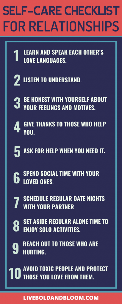 self-care checklist for relationships