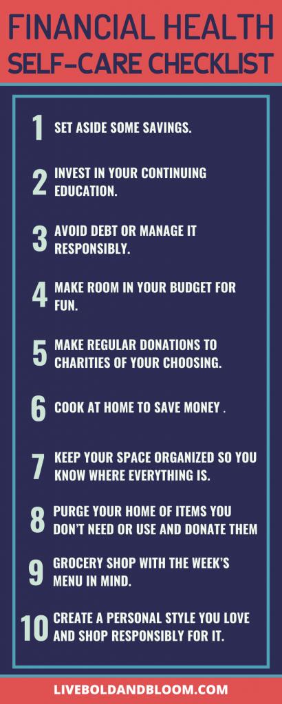 financial health self-care checklist