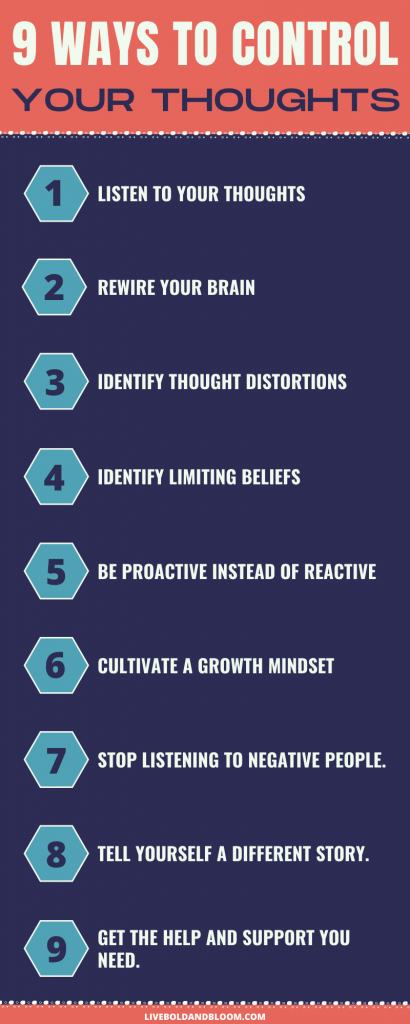 Infographic on how to control your thoughts